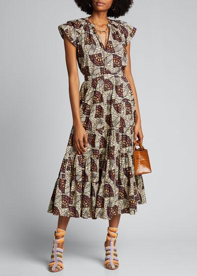 Sylvie Printed Midi Skirt