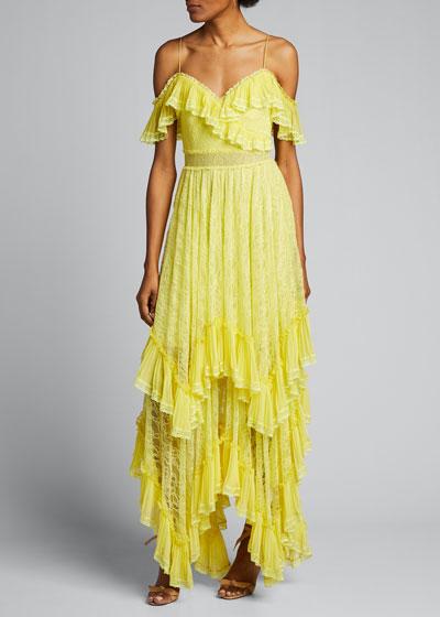 Harper Cold-Shoulder Tiered Handkerchief Gown