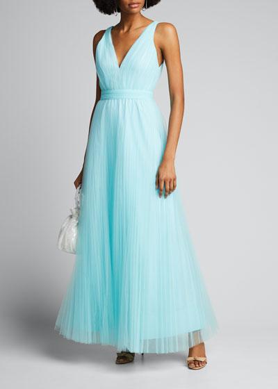 Jolie Sleeveless Asymmetrical Tulle Gown