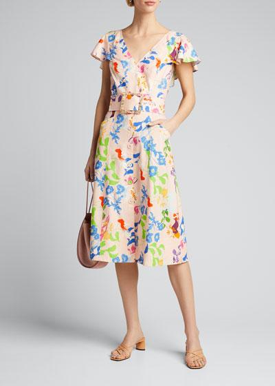 Jan Printed Short-Sleeve Midi Dress w/ Belt