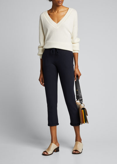 French Terry Pull-On Cropped Pants