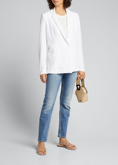 French-Terry One-Button Boyfriend Blazer