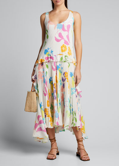 Colette Pleated Floral-Print Midi Dress