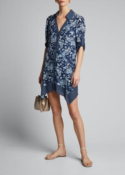 Conner Roll-Sleeve Handkerchief Shirtdress
