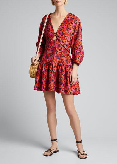 Talia Floral-Print Keyhole Mini Dress