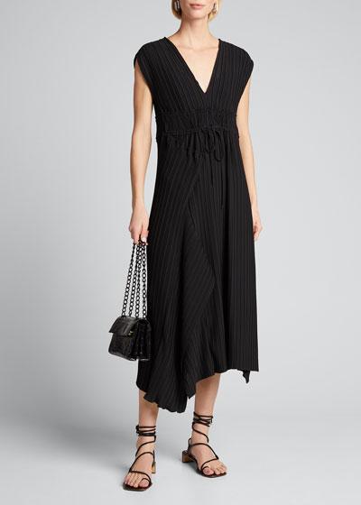 Sleeveless V-Neck Mushroom Pleated Dress