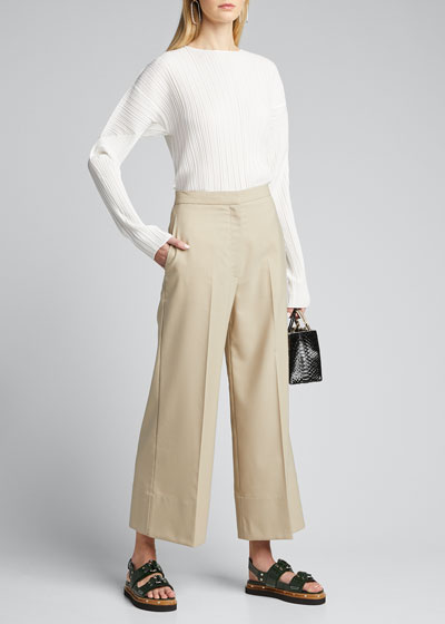 Wool Poplin Wide-Leg Cropped Pants