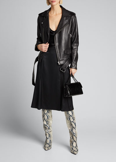 Nina Lamb Leather Biker Jacket