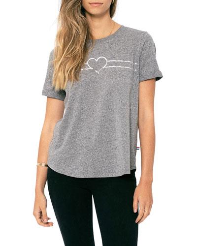 Heart Rolled Crewneck T-Shirt