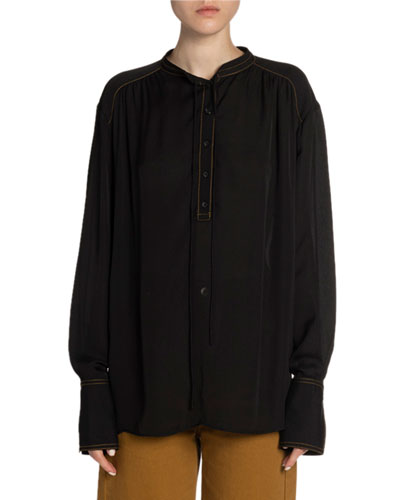 Contrast-Stitch Georgette Long-Sleeve Blouse