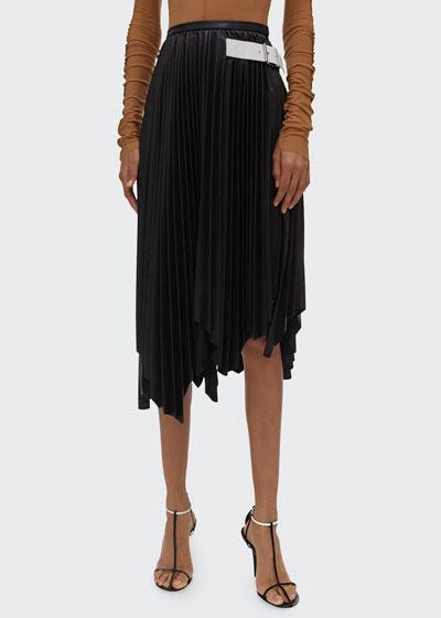 Asymmetrical Pleated Leather Skirt