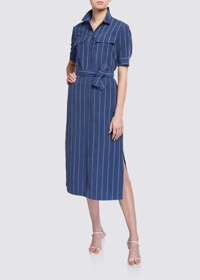 Doha Stately Stripe Short-Sleeve Shirtdress