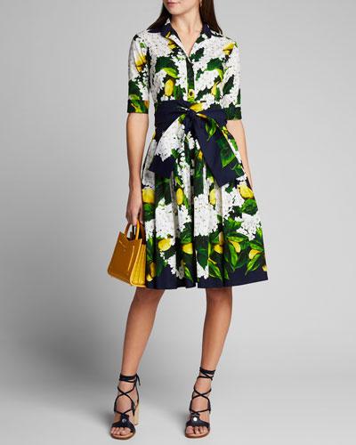 Audrey 2 Lemon Tree Blossom 1/2-Sleeve Belted Shirtdress