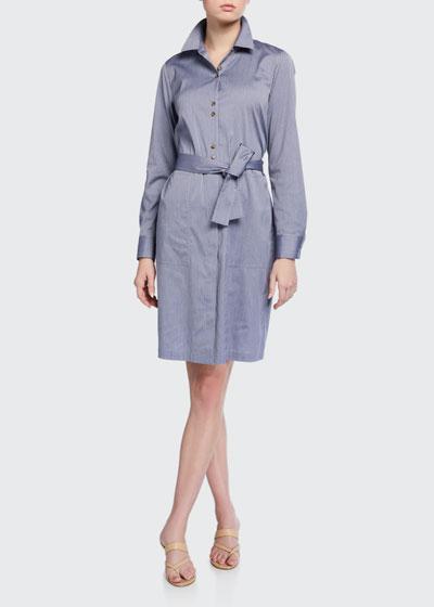 Michelle Felicity Stripe Long-Sleeve Shirtdress