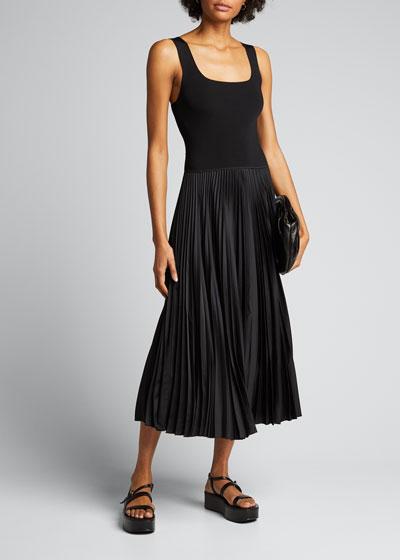 Square-Neck Ribbed Midi Dress