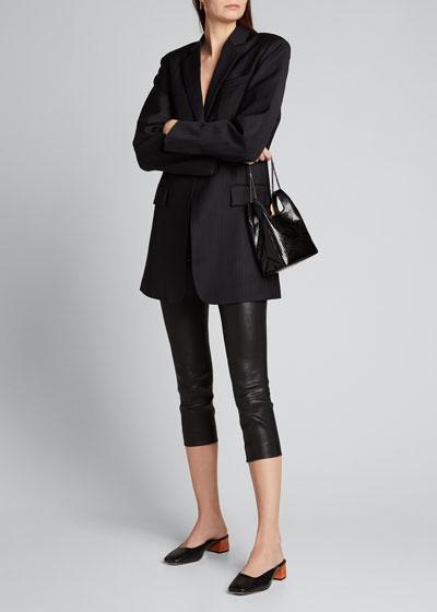Skinny Leather Capri Leggings