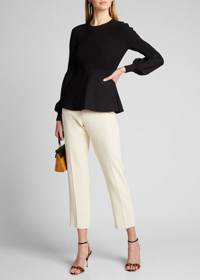 Blouson-Sleeve Ribbed Pullover