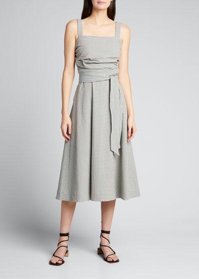 Positano Check Square-Neck Dress