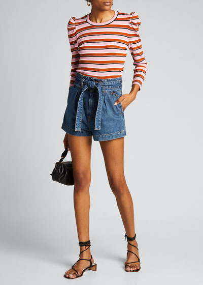 Britney Striped Puff-Sleeve Top