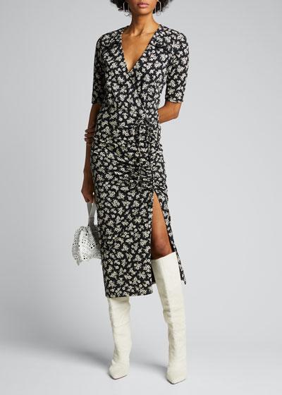 Mariposa 3/4-Sleeve Floral Midi Dress