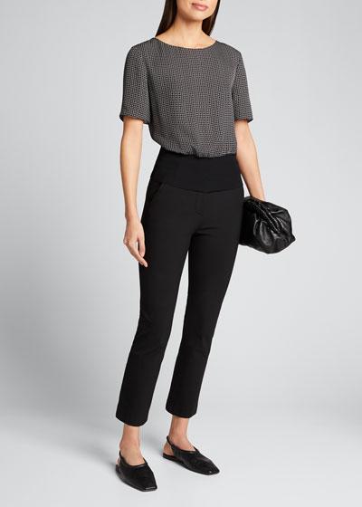 Geometric Short-Sleeve Ribbed Waist Top