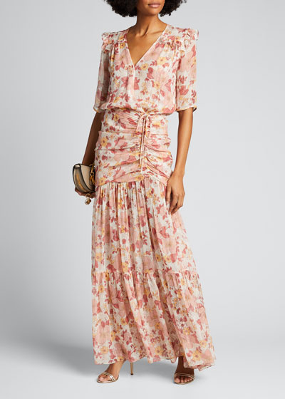 Mick Ruched Floral-Print Long Dress