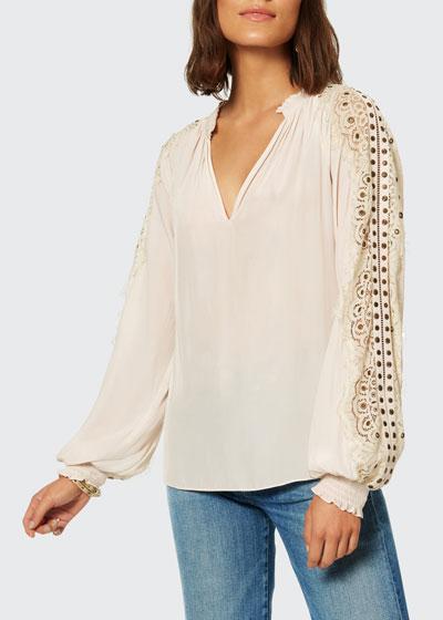 Idina Lace-Sleeve Blouse