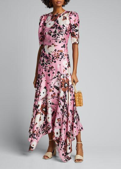 Connie Floral-Print Dress with Handkerchief Hem