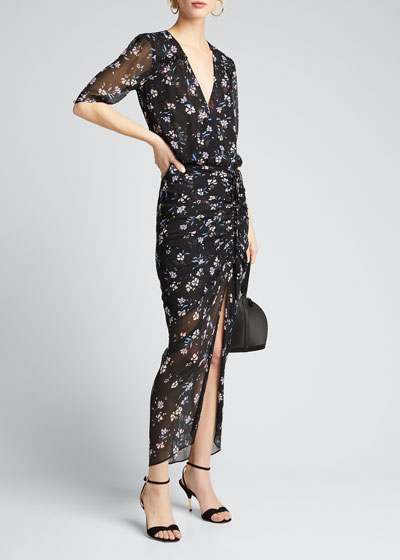 Mariposa Floral-Print Ruched Dress
