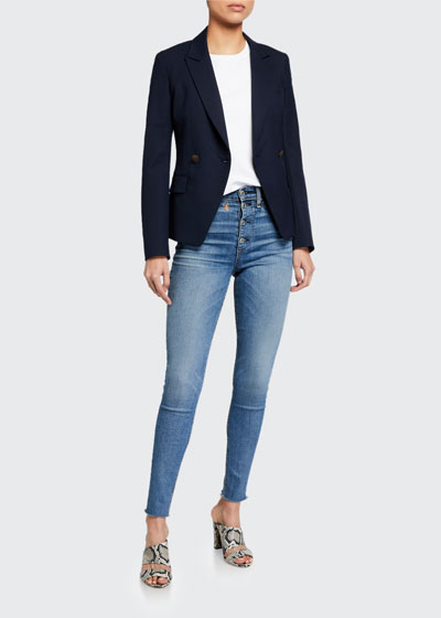 Nina High-Rise Skinny Jeans w/ Button Fly
