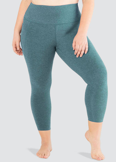 Plus Size Out Of Pocket High-Waist Midi Leggings
