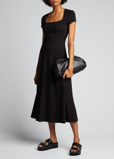 Square-Neck Short-Sleeve Sculptured Long Dress