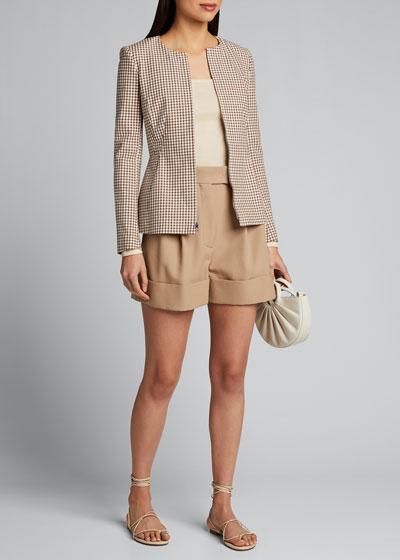 Check Zip-Front Sculptured Jacket