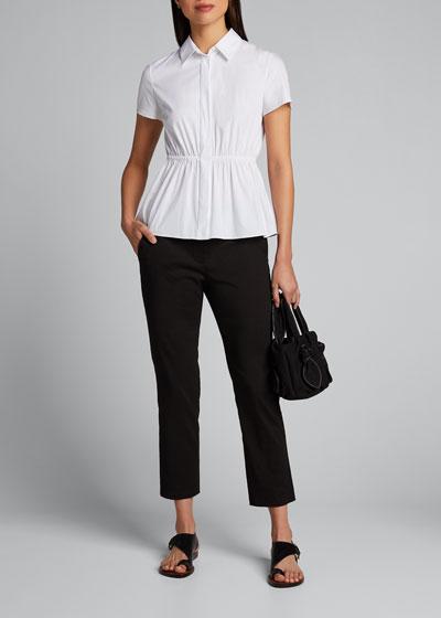 Cinched-Waist Short-Sleeve Button-Down Shirt