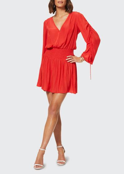Lily Smocked-Waist V-Neck Dress