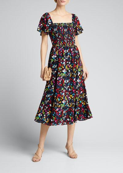 Glenda Smocked Square-Neck Midi Dress