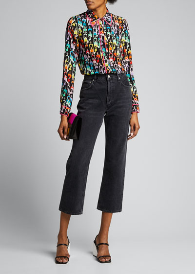 Willa Oversized-Collar Placket Top w/ Piping