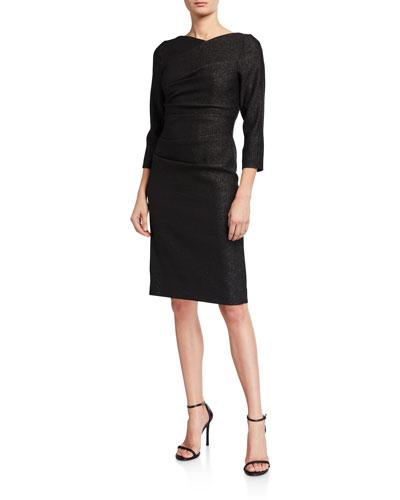 Metallic 3/4-Sleeve Sheath Dress