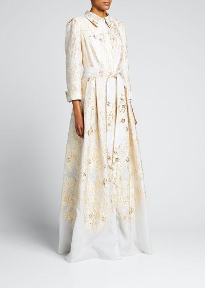 Metallic Brocade Shirtdress Gown