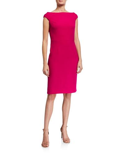 Cap-Sleeve Off-the-Shoulder Sheath Dress