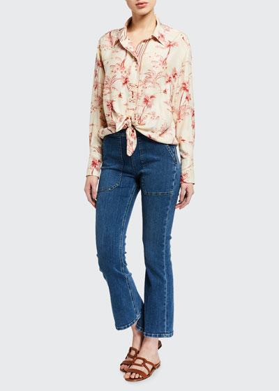 Le Francoise Crop Mini Boot-Cut Jeans