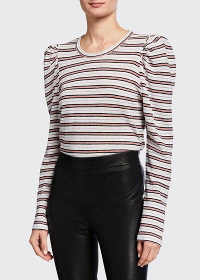 Amara Long-Sleeve Puff-Shoulder Tee