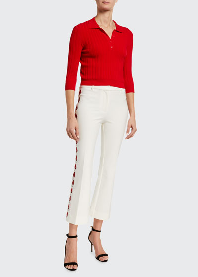 Crosby Cropped Flare Pants w/ Embroidery