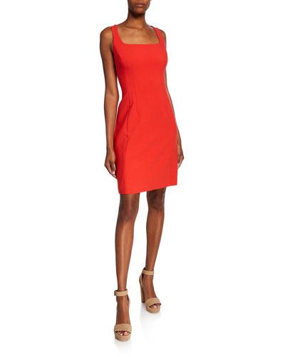 Mariola Square-Neck Sleeveless Sheath Dress