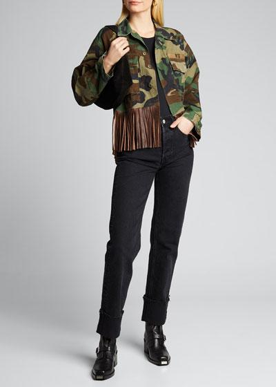 Abu Cropped Military Jacket with Leather Fringe