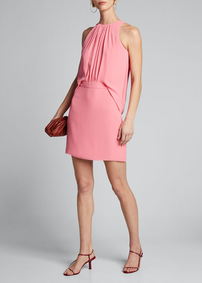 Shirred Front Sleeveless Georgette Dress
