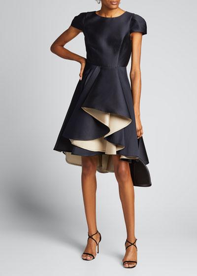 Double Face Satin Twill Dramatic Skirt Dress