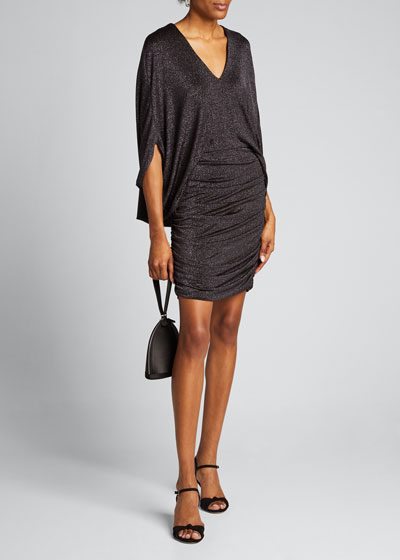 Metallic Knit V-Neck 1/2-Sleeve Ruched Dress