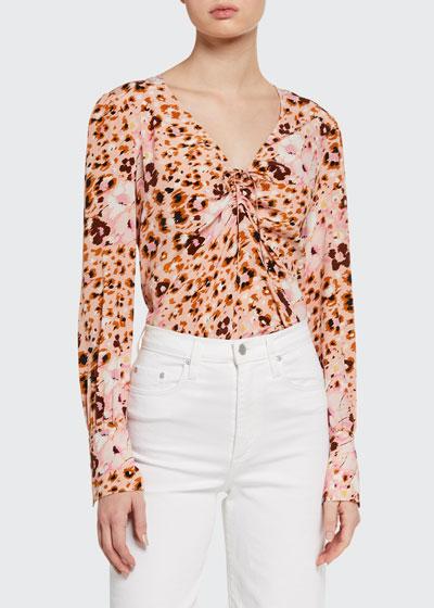 Giulana Printed Long-Sleeve Top
