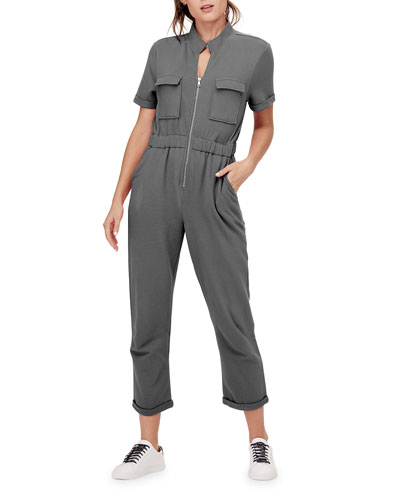 Cassie Short-Sleeve French-Terry Cargo Jumpsuit